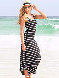 Women's Beach / Casual Striped Bodycon Dress , Off Shoulder Midi Cotton
