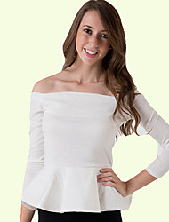 Moon Sunday Women's All Match Off the Shoulder Solid Color Shirt