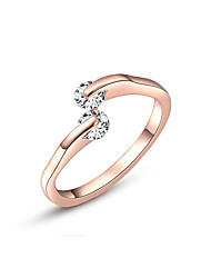 Z&X® Simple Rose Gold Zircon Statement Rings Party/Daily