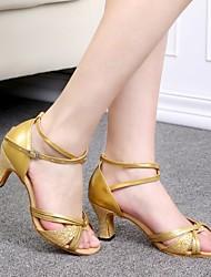 Scarpe da ballo - Non personalizzabile - Donna - Latinoamericano - Tacco spesso - Paillettes - Argento / Oro
