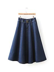 Women's Casual Maxi Skirt Vintage Denim Skirt Long Skirts Juniors Skirts A-line Skater