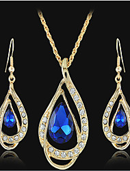 May Polly A double hot drop shaped crystal necklace earrings set