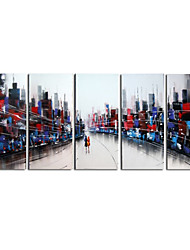 Hand-Painted Art Wall Decor Crazy World Oil Painting on Canvas  5pcs/set (Without Frame)