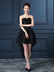 Cocktail Party Dress - Black Plus Sizes Princess Strapless Asymmetrical Organza / Satin