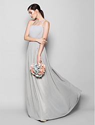 Lanting Bride Floor-length Chiffon Bridesmaid Dress Sheath / Column Scoop Plus Size / Petite with Draping