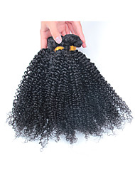 3 Bundles With 3.5x4 Middle Part Closure Kinky Curly Brazilian Unprocessed Human Virgin Hair Natural Color  Weft Hair