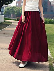 Women's Vintage Casual Cotton Linen  Maxi Skirt