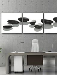 e-home® allungata tela arte pietra nera pittura decorativa set di 3