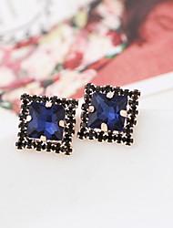 Cute Ocean Blue Diamonds Diamante Alloy Stud Earrings