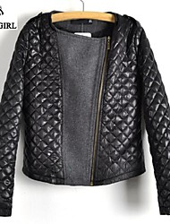 LIVAGIRL®Women's Jacket Fashion Quilting PU Leather Joint Woolen Jacket Europe Style Casual All-match Outwear Coat