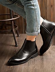 -Для мужчин-Повседневный-Кожа-На плоской подошве-Удобная обувь-Ботинки