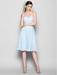 Knee-length Lace Bridesmaid Dress - Sky Blue A-line Sweetheart