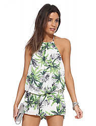 Women's American Apparel Sexy Low-Waisted Chiffon Palm Forest Print Jumpsuits