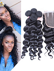 4Pcs/Lot 10''-30'' Brazilian Virgin Hair Lace Closure with Wefts Unprocessed Loose Wave Hair Bundles