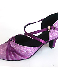 Scarpe da ballo Donna - Moderno - Customized Heel - Satin / Glitter - Viola