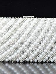 Handbag Satin/Metal/Imitation Pearl Evening Handbags With Crystal/ Rhinestone/Pearl