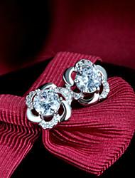 925 bijoux fashion prune coréen des boucles d'oreille en argent sterling boucles prune diamant