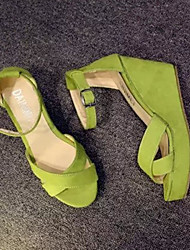 Women's Shoes Faux Leather Wedge Heel Wedges Sandals Casual Black/Green