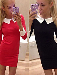 Women's Patchwork / Solid Color Blue / Red / Black Dresses , Bodycon Shirt Collar Long Sleeve