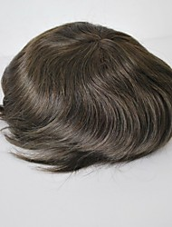 Mens Toupee Dark Brown #2 100% Human Hair Replacement Base Size Adjustable French Lace PU Around