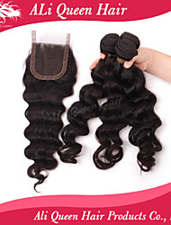 Ali Queen Hair Products 3Pcs 6A Malaysian Virgin Hair Natural Wave Wifh 1Pcs 4*4 Swiss Lace Closures 100% human hair