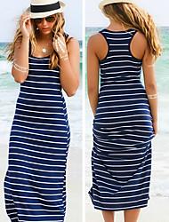 Vestidos ( Algodón )- Playa/Casual Redondo Sin Mangas para Mujer