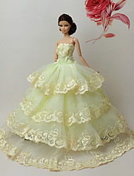 Barbie Doll Yellow Wedding Organza/Lace Dresses Dresses