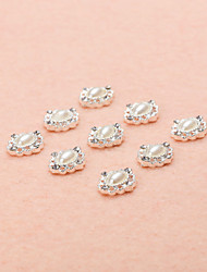 10Pcs/Set Vintage Design Oval Pearl Beads with AB Rhinestones 3D Alloy Nail Art Decoration