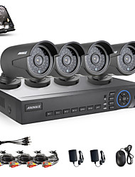 ANNKE 4CH AHD 720P DVR/HVR/NVR+4 720P 1.0MP AHD IP Camera 100ft Night Vision Weatherproof Security System