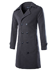 Men's Casual/Plus Sizes Pure Long Sleeve Long Coat (Tweed)