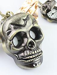 Masculino Relógio Esqueleto Quartz Lega Banda Caveira Bronze marca-