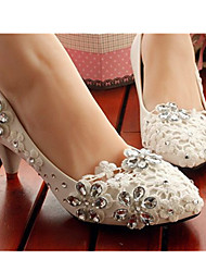 2017 New Arrivals Women's Shoes Best Seller Leather Low Heel Heels/Round Toe Pumps/Heels Wedding/Party & Evening White