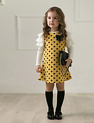 Girl's Cotton/Polyester Sweet Bowknot/Dots Long Sleeve Princess Dress