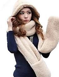 Women lovely Fluffy Scarf Hat Glove Three-piece Suit