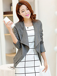 Women's Solid Gray Casual Shirt Collar Long Sleeve Pocket/Zipper