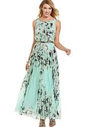 Women's Sexy Casual Print Maxi Plus Sizes Micro Elastic Sleeveless Maxi Dress (Microfiber)