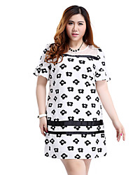 Prettyshow 2015 Summer New Style Oversize Lady O-neck Short Flare Sleeve Straight Slimming Cute Summer Dress Q7812