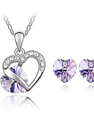 Women Elegant European Style Crystal Heart Necklace Earrings Set