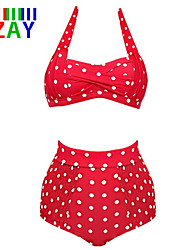 ZAY Women's Retro/High waist   Fashion Vintage Halter High Waist Dot Bikinis