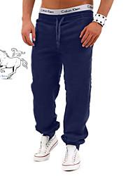 Pantalon de Sport Pour des hommes Couleur plaine Décontracté / Travail / Formel / Sport / Grandes Tailles Mélange de CotonNoir / Bleu /