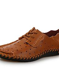 Men's Loafers & Slip-Ons Spring Summer Comfort Cowhide Leather Outdoor Office & Career Casual Flat Heel  Blue Brown Coffee