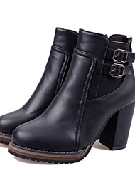 Women's Shoes Faux Leather Chunky Heel Riding Boots Boots Casual Black/Brown