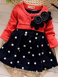Girl's Spring/Fall Micro-elastic Medium Long Sleeve Dress (Cotton/Polyester)