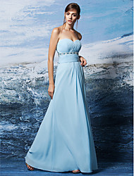 Lanting Bride® Floor-length Georgette Bridesmaid Dress - Sheath / Column Strapless / Sweetheart Plus Size / Petite withCrystal Detailing