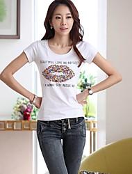 Women's Sexy/Casual Sequin Solid Short Sleeve Regular T-shirt (Sequin/Cotton)