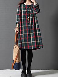 Mulheres Vestido Altura dos Joelhos Manga Longa Decote Redondo Bolso/Botão Mulheres