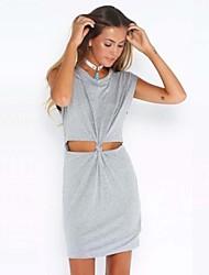 Women's Gray Dress , Sexy Sleeveless