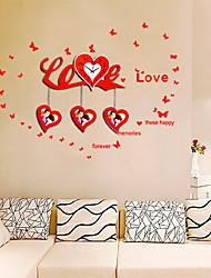 reloj moderno estilo tema de amor de la pared - rojo