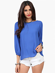 Women's Round Neck Bow Backless Blouse , Chiffon Long Sleeve