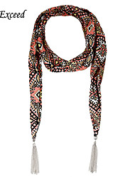 D Exceed  Women Summer Pop Style Printed Chiffon Scarves with Silver Plated Tassel Multifuction Cheap Scarfs